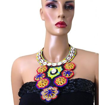Multi Color Cowrie Shell Tribal Bib Necklace