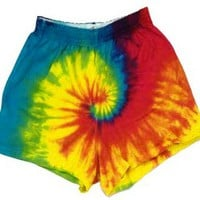 Rainbow Spiral Tie Dye Soffe Cheer Shorts