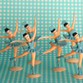 Blue Ballerina Cupcake Toppers 12 by sweetestelle on Etsy
