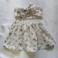 Baby's Skirt and Headwrap Cute Baby Set Floral Print Baby Girls Clothes *NEW*