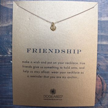 dogeared - reminder smooth anchor 'friendship' necklace in gold dipped