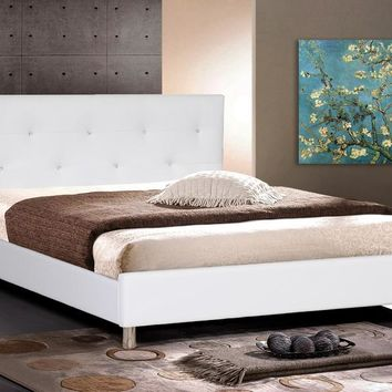 Baxton Studio Barbara White Modern Bed with Crystal Button Tufting - Full Size Set of