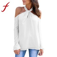 Feitong Autumn Women Blouses Solid Sexy Halter Neck Casual Long Sleeve Low Cut Twisted Halter Tops Shirt Blouse Blusas feminina