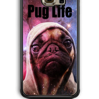 Samsung Galaxy S6 Edge Case - Hard (PC) Cover with Funny Pug Life On Galaxy Plastic Case Design