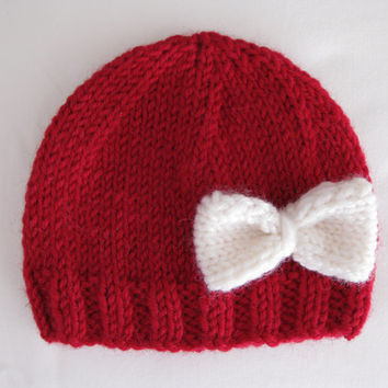 Pattern knit preemie hat bow girl red tricot pdf red stockinette baby embellish bebe applique rib edge prem light worsted double DK 8ply