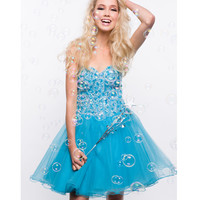 2013 Prom Dresses - Turquoise Chiffon & Sequin Short Prom Dress - Unique Vintage - Prom dresses, retro dresses, retro swimsuits.
