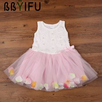 BBYIFU Summer Birthday Flower Girl Bubble Dresses Hot Red Baby Party Dress for Wedding 0-2 Years Lace Ruched Mini Princess Dress