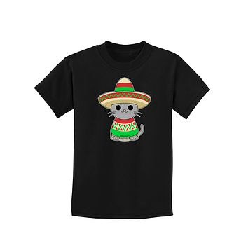 Cat with Sombrero and Poncho Childrens Dark T-Shirt by TooLoud