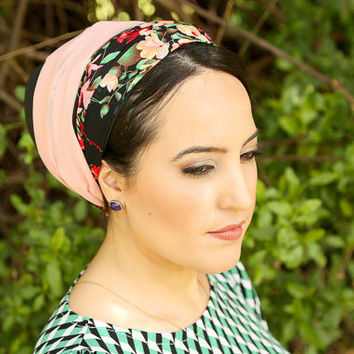 Black head scarf – Floral headcovering  – Hair snoods – Headpiece