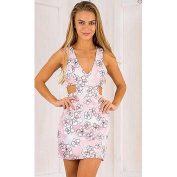 HOT SLIM HOLLOW OUT PRINT DRESS