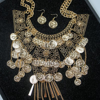 Coin Statement Necklace and Earring Set in Gold