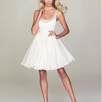 [64.99] Stunning A-line Chiffon Scoop Neckline Short Homecoming Dress With Beadings & Rhinestones - Dressilyme.com