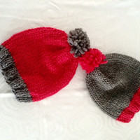 Knit Winter Hat - Twins Set Hats - Sibling Clothing - Wool Hats - Handmade Gift - Twins Baby Shower - Baby Clothing - Grey Pink Wool Hats