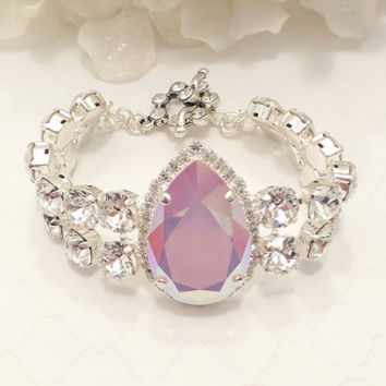SWAROVSKI CRYSTAL BRACELET,bridal, pear, statement, diamond crystal, pink ab, exquisite, stunning, double row, fancy
