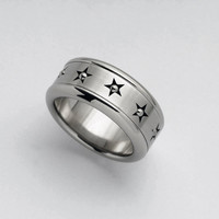 """Steel """"Stars"""" spinning ring // For him // For her"""