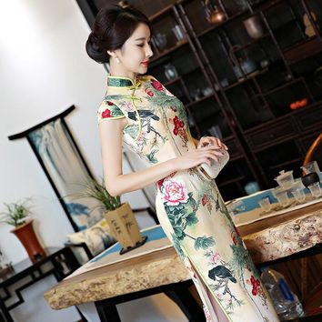 2017 short sleeve long dress Qipao Silk Chinese Dress  chinese style elegant cheongsam dress