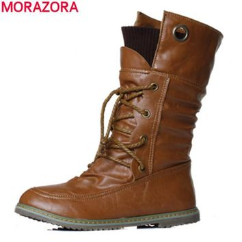 MORAZORA 2017 New fashion motorcycle ankle boots