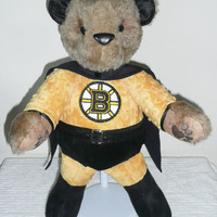 Boston Bruins Stuffed Teddy Bear SuperHero by NiceThreads on Etsy