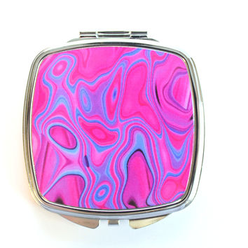 Pink and Purple Neon Color Warp Compact Mirror