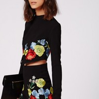 Missguided - Pia Floral Embroidered Shorts Black
