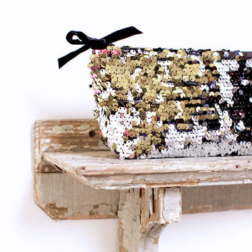 Sequin Sparkle Clutch Bag, silver and gold metallic purse, holiday party accessory