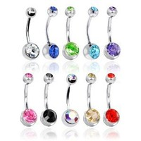 "Lot of 10 Double Jeweled CZ Crystal Gem Belly Button Navel Rings 316L Surgical Steel 14 Gauge (10 Pieces)14G 3/8"" + 1 Free Belly Retainer: Jewelry: Amazon.com"