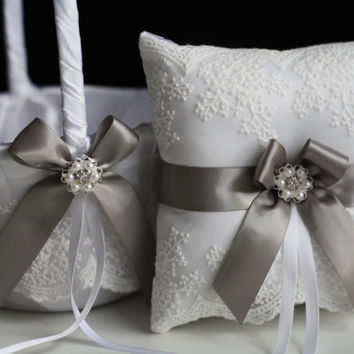 Gray Wedding Pillow Basket Set \ White and Gray Flower Girl Basket and Ring Bearer Pillow \ Gray Lace Wedding Ring Holder and Wedding Basket