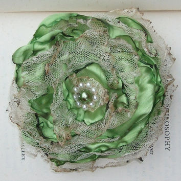 Apple Green with tea stained tulle flower by OurPlaceToNest