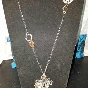 Steampunk Octopus necklace, octopus and anchor necklace, steampunk jewelry, steampunk necklace, unique necklace, gear necklace, gear jewelry