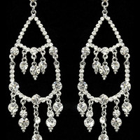 Glimmer Drop Earrings in Silver – bandbcouture.com
