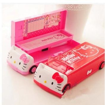 New Hello Kitty Student Car Stationery Pencil cases Multifunction Pencil boxes Storage Box