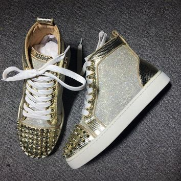 PEAPUX5 Cl Christian Louboutin Lou Spikes Style #2177 Sneakers Fashion Shoes