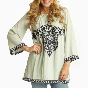 Mint Green Navy Embroidered Linen Top