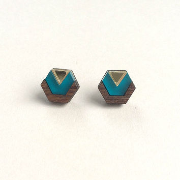 Little Hex Studs in Teal Frost by Wolf & Moon