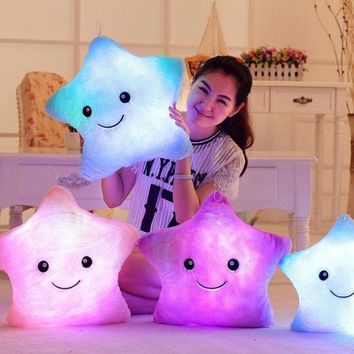 Luminous Travel Neck bedding Pillow Christmas Toys Led Light Baby Plush Pillow Colorful Stars kids Stuffed Toys Birthday Gift