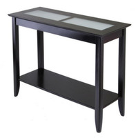 Console Table Inlaid Frosted Glass Tiles Living Room Furniture Espresso Finish
