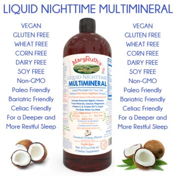Vegan Liquid Nighttime Multimineral (For Sleep & Stress) 32 OZ (28-32 Day Supply)
