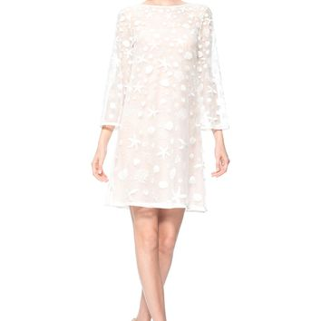 STARFISH EMBROIDERED TULLE ¾ SLEEVE DRESS