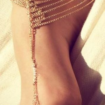 Hot Sale New Fashion Vintage Romantic Gold Color Beach Multi Tassel Toe Ring Chain Link Foot Jewelry Anklet Chain Charm Bracelet  Ankle Body Jewelery (Color: Gold) = 5658252609