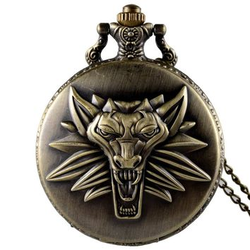 New Arrivals Fashion The Witcher 3: Wild Hunt Quartz Pocket Watch Classic Men Women Pendant Necklace Gift Clock
