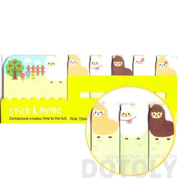 Adorable Alpaca llama Sheep Shaped Animal Themed Memo Pad Post-it Index Sticky Tab Bookmarks