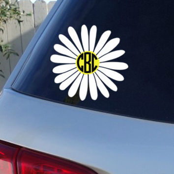 "Daisy Monogram Car Window Decal | Initials Car Window Decal 6"" x 6"""
