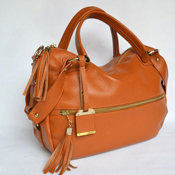 Stylish Camel Brown Leather Tote. Travel Leather Bag. Laptop Bag. Cross Body Bag. MADE-TO-ORDER