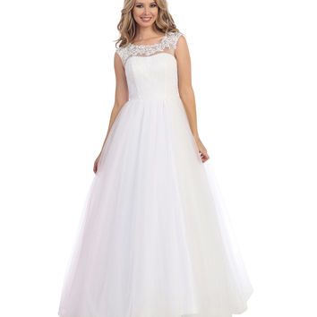 Preorder -  Off White Sheer Empire Waist Chiffon Ball Gown 2015 Prom Dresses