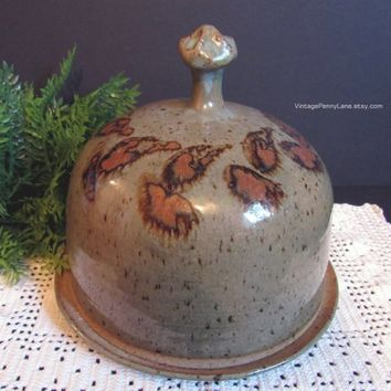 Vintage Handmade Studio Pottery Cheese Dome, Stoneware Pottery Food Cover, Boho Bohemian