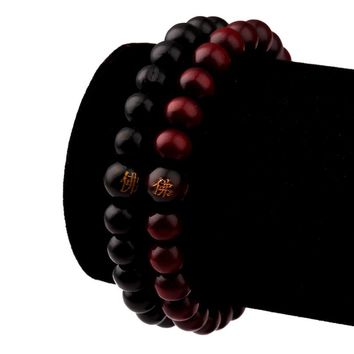 Mens Women Wood Beads Hip Hop Bracelets Rappers Jewelry Gifts Sandalwood Chinese Buddhist Buddha Meditation Prayer Bead Bracelet