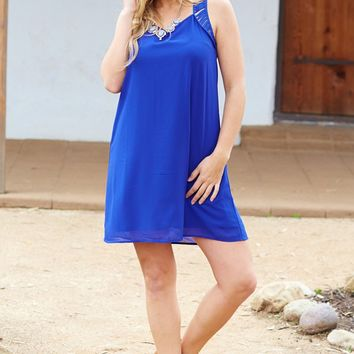 Royal Blue Cutout Strap Chiffon Dress