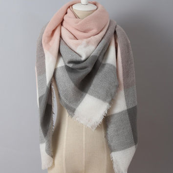 Piper Plaid Scarf in Pink & Black