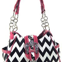 Chevron Print Rhinestone Buckle Hobo Satchel Purse Zig Zag (Black / Hot Pink)
