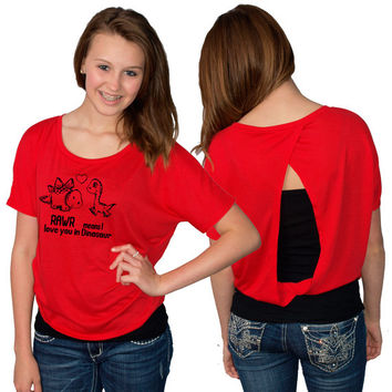 SALE Rawr Means I Love You In Dino Bella Ladies' Flowy Open Back T-shirt